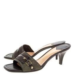 Louis Vuitton Vintage Green Canvas And Brown Leather Trim Open Toe Sandals Size 38.5
