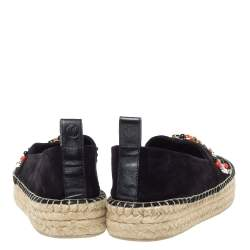 Louis Vuitton Black Suede Leather Frontier Embellished Espadrille Flats Size 38.5