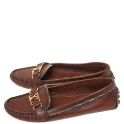 Louis Vuitton Brown Leather Oxford Slip On Loafers Size 36.5