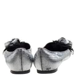 Louis Vuitton Silver/Black Lame Fabric Rose Applique Embellished Ballet Flats Size 39.5