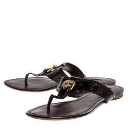 Louis Vuitton Burgundy Patent Leather monogram Thong Flats Size 38.5