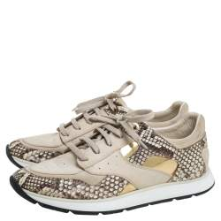Louis Vuitton Beige Suede Leather And Python Trim Run Away Low Top Sneakers Size 39