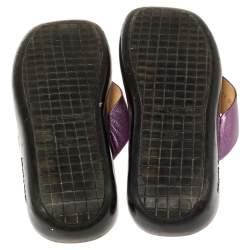 Louis Vuitton Purple Leather Thong Flats Size 40