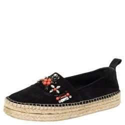 Louis Vuitton Black Suede Front Pier Crystal Embellished Espadrilles Size 38.5