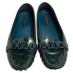 Louis Vuitton Green Patent Leather Oxford Flats Size 40