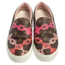 Louis Vuitton Brown Monogram Canvas Chain Print Harbor Slip on Sneakers Size 36