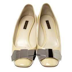 Louis Vuitton Cream Patent Leather Mademoiselle Pumps Size 39