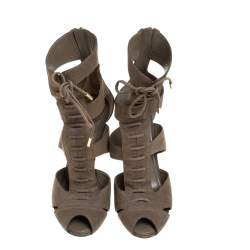 Louis Vuitton Olive Green Leather Corfu Lace Up Sandals Size 40