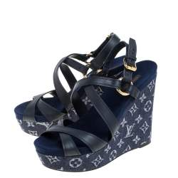 Louis Vuitton Blue Leather And Monogram Denim Fabric Wedge Ocean Slingback Sandals Size 39.5