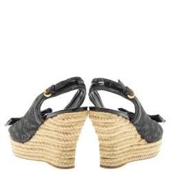 Louis Vuitton Black Monogram Denim And Patent Leather Bow Espadrille Wedge Slingback Sandals Size 39