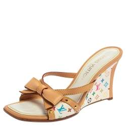 Louis Vuitton Multicolor Monogram Canvas And Leather Bow Wedge Sandals Size 38
