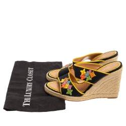 Louis Vuitton Black/Yellow Canvas And Patent Leather Trim Flowers Wedge Espadrilles Sandals Size 37.5