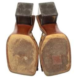 Louis Vuitton Brown Damier Pvc Square Toe Sandals Size 37.5