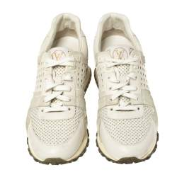 Louis Vuitton White Ivory Leather And Grey Suede Run Away Lace Up Sneakers Size 37