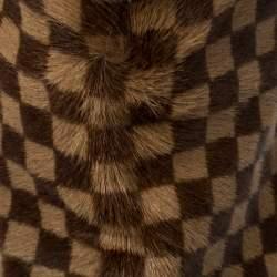Louis Vuitton Brown Damier Ponyhair Knee Length Boots Size 37.5