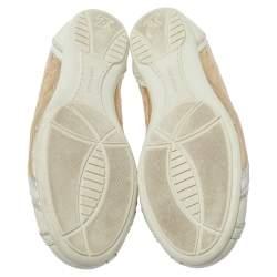 حذاء رياضي لوي فيتون امبولشون جلد ذهبي و أبيض مقاس 36.5