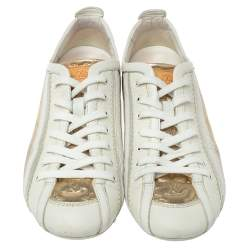 Louis Vuitton White And Golden Leather Impulsion Sneaker Size 36.5