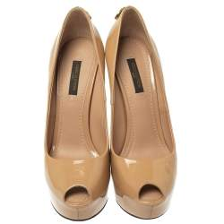 Louis Vuitton Beige Patent Leather Oh Really! Peep Toe Platform Pumps Size 36.5