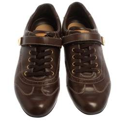 Louis Vuitton Brown Brogue Leather Strap Low Top Sneakers Size 37.5