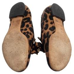 Louis Vuitton Brown Leopard Printed Canvas Bow Detail Smoking Slippers Size 36