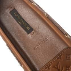 Louis Vuitton Brown Monogram Empreinte Leather Gloria Slip On Loafers Size 36.5