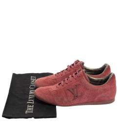 Louis Vuitton Pink Perforated Suede Low Top Sneakers Size 35.5