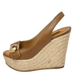Louis Vuitton Olive Green Leather Wedge Espadrille Peep Toe Platform Slingback Sandals Size 37