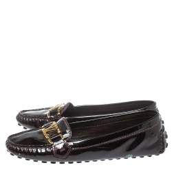 Louis Vuitton Burgundy Patent Leather Logo Slip On Loafers Size 37