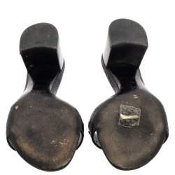 Louis Vuitton Black Leather Applique Embellished Block Heel Slide Sandals Size 37