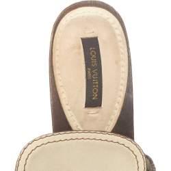 Louis Vuitton Cream Leather Logo Dice Clogs Size 36.5
