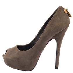 Louis Vuitton Grey Suede Platform Peep Toe Pumps Size 38.5