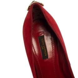 Louis Vuitton Red Suede Oh Really! Peep Toe Platform Pumps Size 39.5