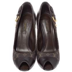 Louis Vuitton Brown Monogram Mini Lin Canvas And Leather Buckle Detail Peep Toe Pumps Size 37