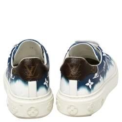 Louis Vuitton Blue/White Patent Monogram Canvas Escale Time Out Sneakers Size 38