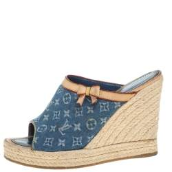 Louis Vuitton Beige/Blue Monogram Denim And Leather Espadrille Wedge Mules Size 37