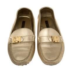 Louis Vuitton Metallic Gold Leather S Lock Slip On Loafers Size 38