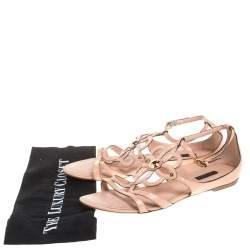 Louis Vuitton Beige Patent Leather Cutout Gloss Flat Sandals Size 40.5