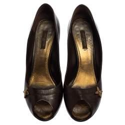 Louis Vuitton Brown Leather Peep Toe Pumps Size 38