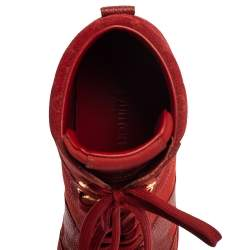 Louis Vuitton Red Leather And Embossed Monogram Suede Millenium Wedge Sneakers Size 37.5