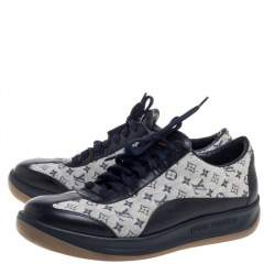 Louis Vuitton Blue/Grey Canvas And Leather Mini Lin Sneakers Size 40