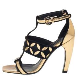 Louis Vuitton Gold Leather And Suede Sandals Size 37