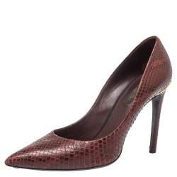 Louis Vuitton Burgundy Python Leather Slip On  Pumps Size 37.5