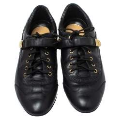 Louis Vuitton Black Leather Brogue Velcro Strap Sneakers Size 37.5