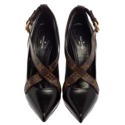 Louis Vuitton Black/ Monogram Coated Canvas And Leather Matchmake Cross Pumps Size 38