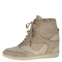 Louis Vuitton Beige Embossed Monogram Suede And Leather Millenium Wedge Sneakers Size 39