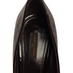 Louis Vuitton Brown Monogram Canvas And Patent Leather Rivoli Cork Peep Toe Platform Pumps Size 39.5