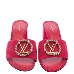 Louis Vuitton Pink Suede Madeleine Slide Sandals Size 37