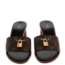 Louis Vuitton Brown Monogram Canvas Lock It Mule Sandals Size 39