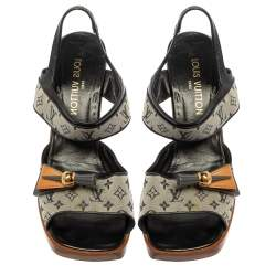 Louis Vuitton Two Tone Mini Lin Canvas And Leather Embellished Wedge Slingback Sandals Size 42