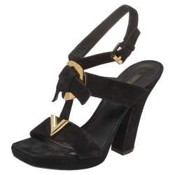 Louis Vuitton Black Suede Medallion Sandals Size 38